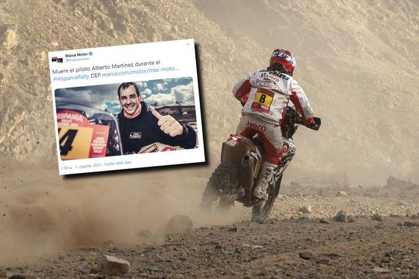 Alberto Martinez (pikkukuvassa) tavoitteli Dakar-ralliin osallistumista. Kuva vuoden 2020 Dakar-rallista.