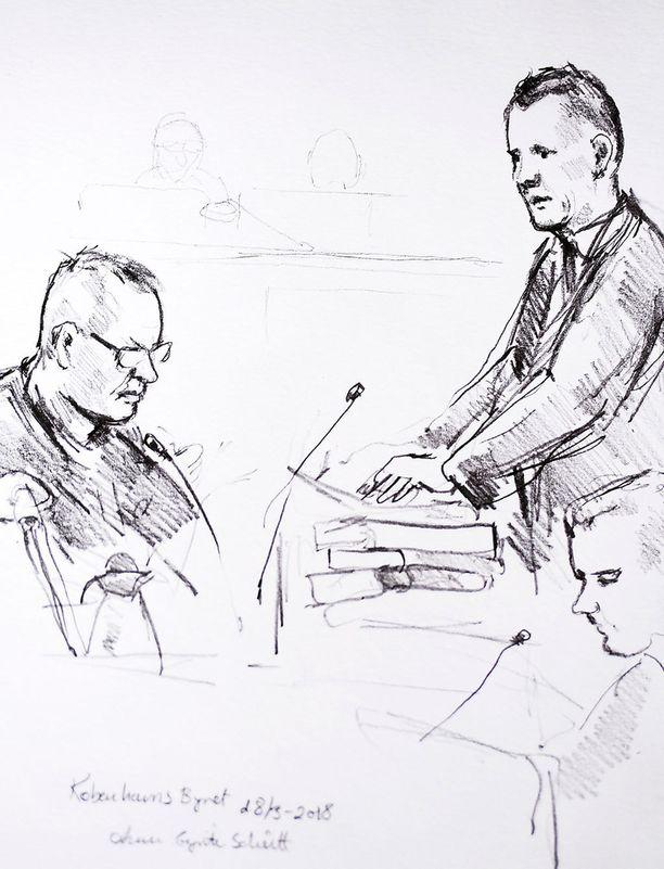 Taiteilijan näkemys Madsenin oikeudenkäynnistä.