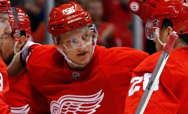 Teemu Pulkkinen rakentaa NHL-uraa Detroitissa.