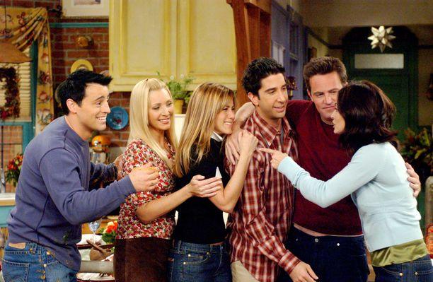 Frendien päätähtinä nähdään Matt LeBlanc (vas.), Lisa Kudrow, Jennifer Aniston David Schwimmer, Matthew Perry ja Courteney Cox.
