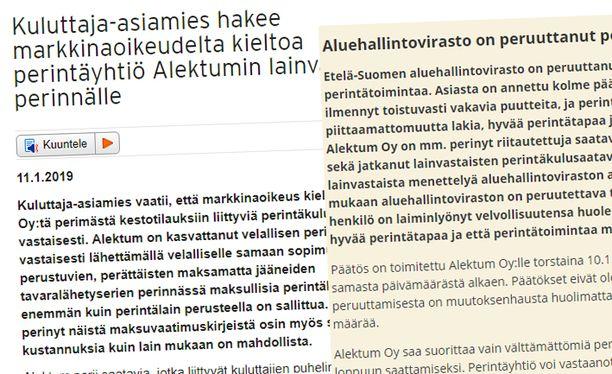 Kilpailu- ja kuluttajavirasto ja Aluehallintovirasto ovat tiedottaneet Alektum-prosessista verkkosivuillaan.