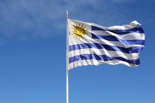 Uruguayn lippu hulmuaa tuulessa Colonia del Sacramenton rannikkokaupungissa..