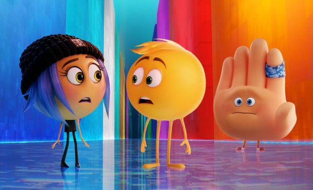 Emoji-elokuvan pääkolmikko Jailbreak, Gene ja Yläfemma.