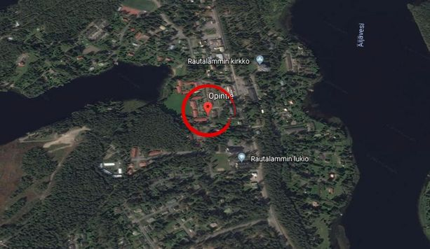 Karttakuvassa Opintien alue Rautalammilla.