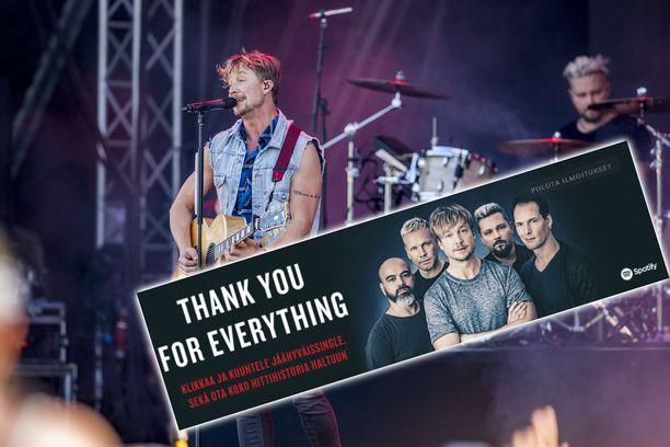 Sunrise Avenuen jäähyväissingleä mainostetaan jo Spotifyssa.