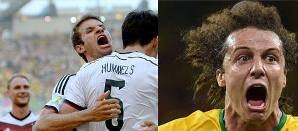 Thomas Müller pyrkii välierässä karkaamaan David Luizin vartioinnista.