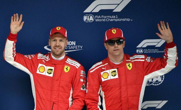 Sebastian Vettel ja Kimi Räikkönen valloittivat toistamiseen tällä kaudella F1-osakilpailun eturivin.