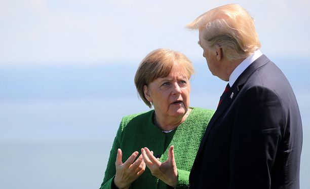 Saksan liittokansleri Angela Merkel ja Yhdysvaltojen presidentti Donald Trump tänään perjantaina alkaneessa G7-kokouksessa.