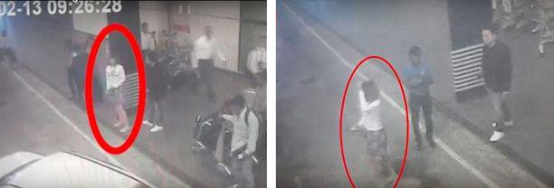 Valvontakamerakuvat näyttävät epäillyn salamurhaajan lentokentällä maanantaina.