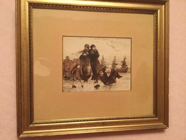 Marita Salmikivi piti espoolaiselta itsepalvelukirpputorilta hankkimaansa taulua aluksi Kauniaisen kotinsa makuuhuoneen seinällä. Salmikivi ihastui taulussa muun muassa huumoriin ja pikkupojan ilmeeseen.