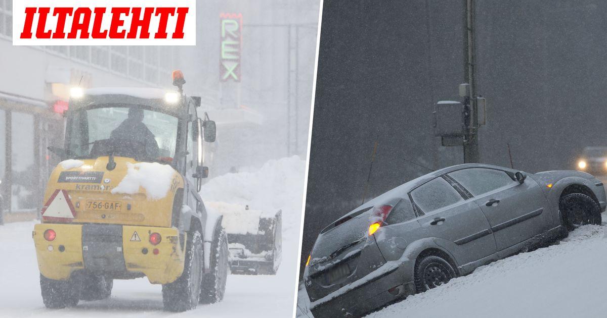 Tällainen lumikurmotus pyyhkii Suomen yli  ajokeli erittäin...