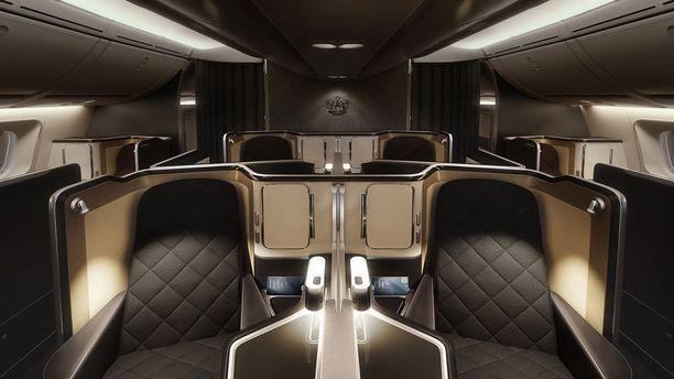 Kromia ja käsintikattua nahkaa. British Airwaysin ykkösluokassa on käytetty laadukkaita sisustusmateriaaleja.