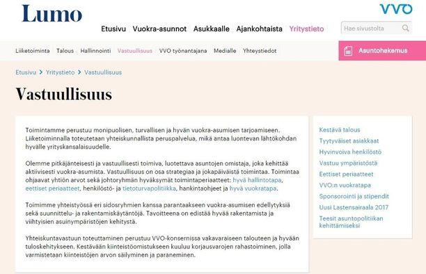Näin VVO lupaa vastuullisuudesta verkkosivuillaan.