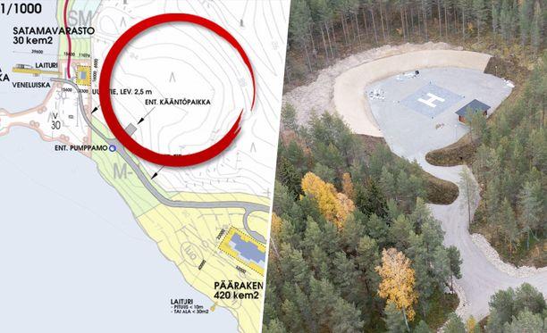 Kun rantakaavan poikkeamislupaa käsiteltiin toukokuussa 2020 Puumalan teknisessä lautakunnassa, asemapiirroksessa ei näkynyt lainkaan helikopterikenttää.