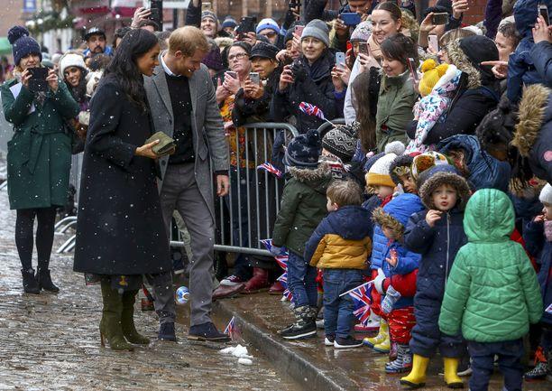 Lapset heiluttivat lippujaan Sussexin herttuaparille.