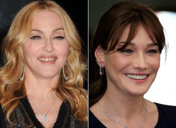 Myös Madonnan ja Carla Bruni-Sarkozyn kasvot ovat epäilyttävän rypyttömät.