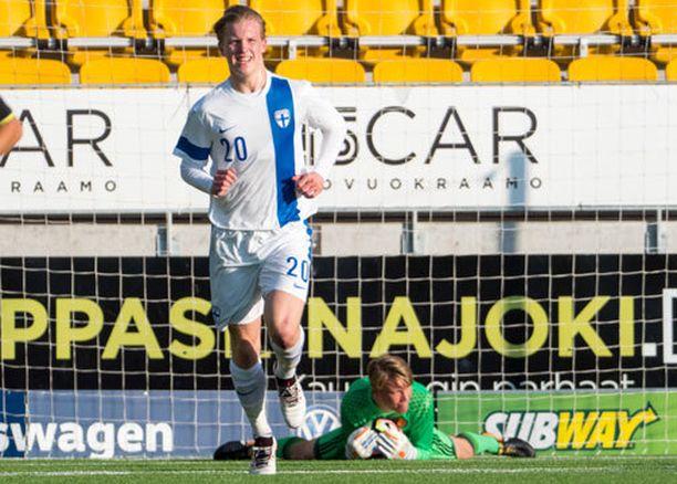 Miko Virtanen pelasi viime kesänä Seinäjoella Belgiaa vastaan alle 19-vuotiaiden EM-esiturnauksessa.