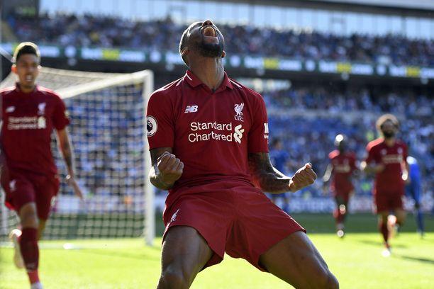 Liverpoolin Georginio Wijnaldum tuuletti Cardiff-ottelun voittomaalia.
