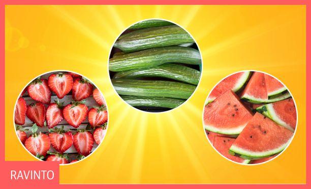 Helteellä voi olla hyödyllistä syödä nestepitoisia ruoka-aineita.
