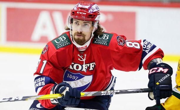 KooKoosta siirtynyt Kai Kantola debytoi eilen HIFK:n riveissä.