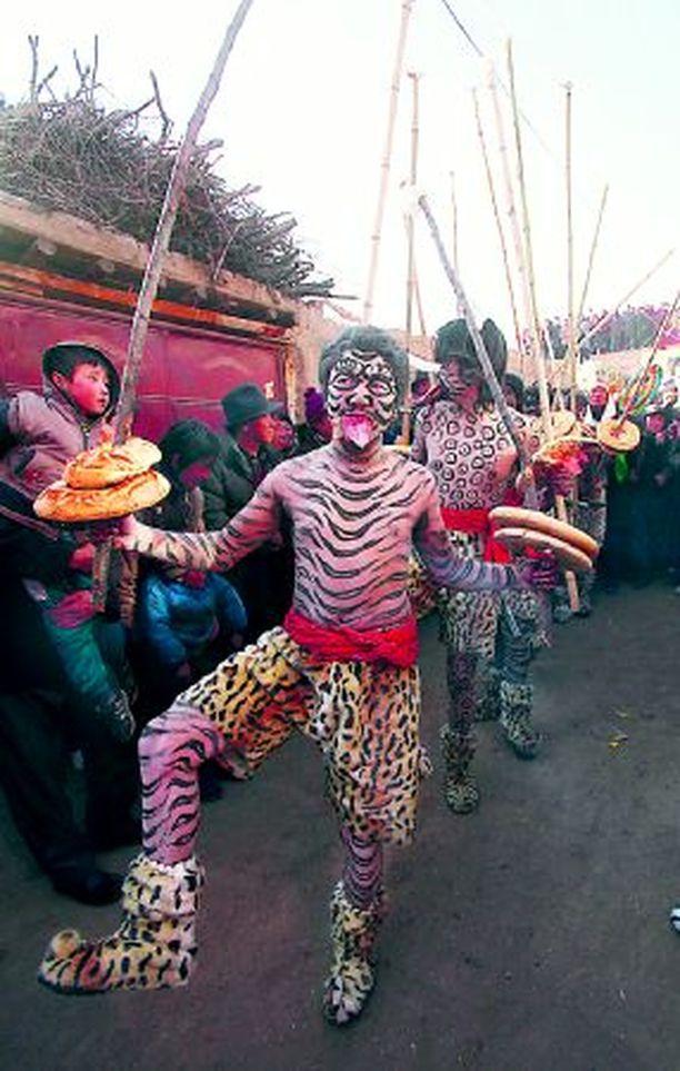 """HENGET HIITEEN! Näin tomerasti seitsemän tiikereiksi naamioitunutta miestä karkotti maanantaina vihulaisia Nianduhun kylässä Luoteis-Kiinassa. Perinteisen Wutu-seremonian päätteeksi """"tiikerimiehet"""" huuhtoivat raitansa pois läheisessä joessa."""