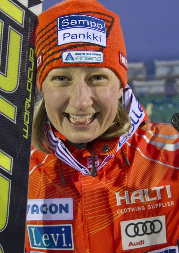 Tanja Poutiainen oli superonnellinen Levin kolmannen sijan jälkeen.