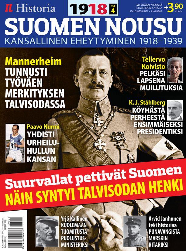 Iltalehden uusi historialehti SUOMEN NOUSU Kansallinen eheytyminen 1918–1939 kertoo ajasta repivän sisällissodan jälkeen. Valkoiset juhlivat voittajina, punaiset palasivat kotiinsa rikollisina. Kaksi vuosikymmentä myöhemmin kansa oli kuitenkin yhtä, kun Stalinin hirmuinen Puna-armeija vyöryi Suomeen. Myydään yhdessä Iltalehden kanssa, Iltalehden hinta + 3,90 euroa.