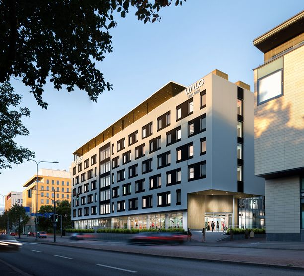Havainnekuva siitä, miltä ensi vuonna avattava hotelli näyttää Mannerheimintien puolelta.