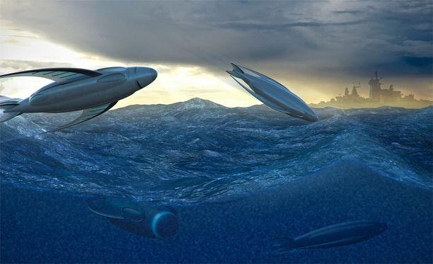 Lentokalaa muistuttavat torpedot voisivat kulkea joko veden alla tai lentäen.