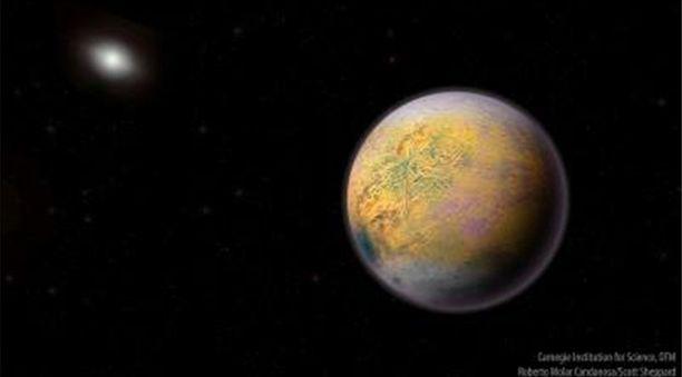 Tältä kääpiöplaneetta saattaa taiteilijan mukaan näyttää. Kuvan julkaisi havainnon tehnyt tiedeyhteisö.