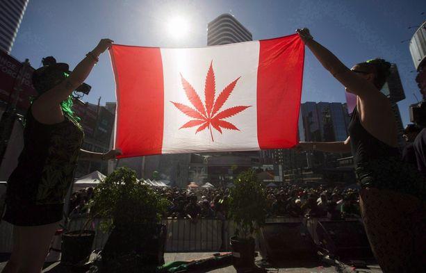 Kannabiksen laillistamista puoltaneet mielenosoittajat pitelivät hieman muokattua Kanadan lippua Torontossa keväällä 2016.