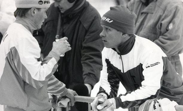 Ex-hiihtäjä Kari Ristanen Eija Hyytiäisen kanssa vuonna 1989.