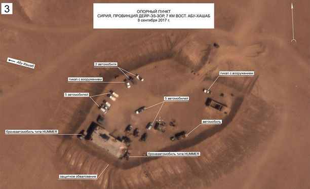 Venäjän puolustusministeriön julkaisema ilmakuva Syyrian Deir ez Zorin kaupungin pohjoispuolelta.