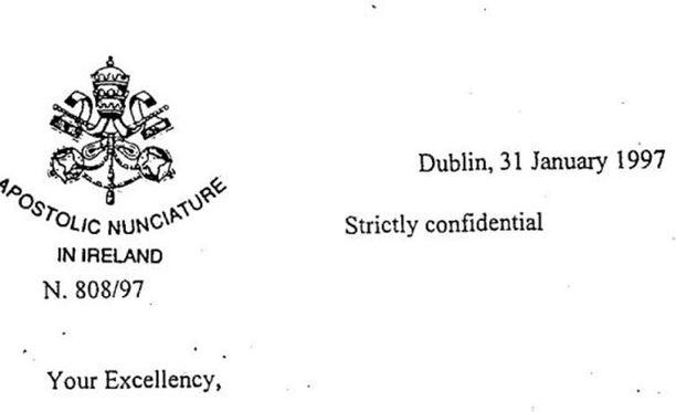 Kirje on päivätty tammikuulle 1997 ja merkitty salaiseksi.