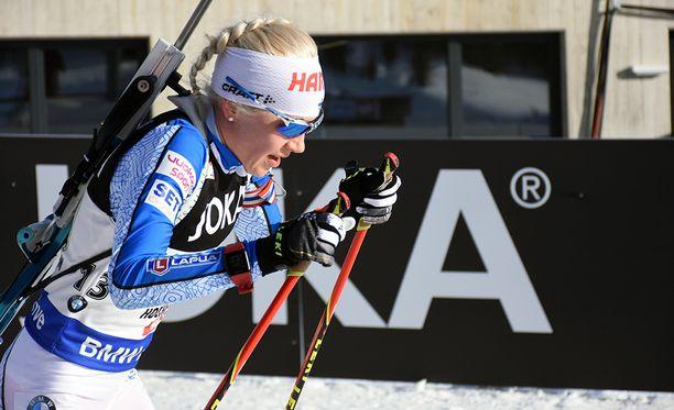 Torstaina 35-vuotispäivää viettävä Kaisa Mäkäräinen jahtasi Ruhpoldingissa kauden kolmatta palkintokorokesijoitustaan.