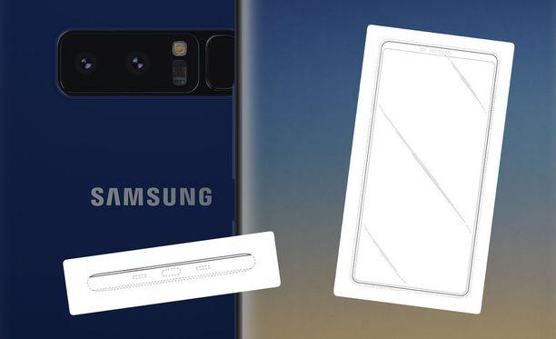Samsungin patentista käy ilmi, että puhelimessa ei ole kuulokeliitäntää tai näyttölovea. Taustalla Galaxy Note 8.