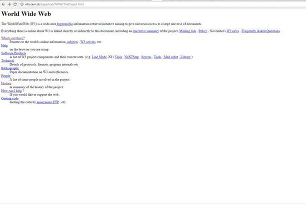 Tällaisilta näyttivät ensimmäiset www-pohjaiset internetsivut marraskuun 12. päivänä vuonna 1991.