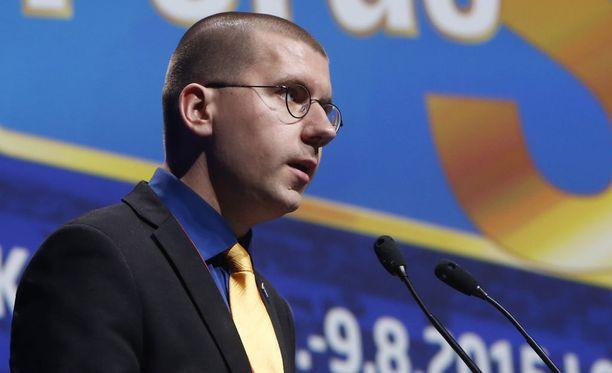 Sebastian Tynkkynen valittiin elokuussa perussuomalaisten puoluekokouksessa kolmanneksi varapuheenjohtajaksi.