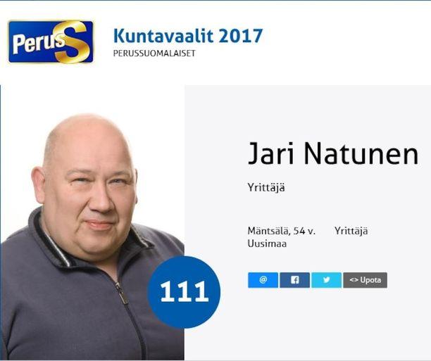 Perussuomalaisten kuntavaaliehdokas Jari Natunen tuomittiin vuonna 2002 seitsemäksi vuodeksi vankeuteen törkeästä huumausainerikoksesta. Natusen mukaan hän on syytön mies.