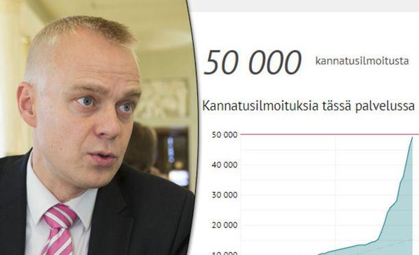 Kansanedustaja Timo Heinonen haluaa, että kansalaisaloitteet eivät raukeaisi vaalikauden jälkeen.