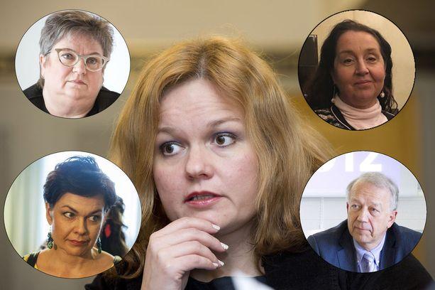 Sote-valiokunnan keskustalaiset jäsenet, heidän joukossaan Hannakaisa Heikkinen (vas alhaalla) ja Pekka Puska ovat allekirjoittaneet puheenjohtaja Krista Kiurua (keskellä) koskevan kantelun. Valiokunnan kokoomuslaiset jäsenet Jaana Laitinen-Pesola (vas ylhäällä) ja Sari Raassina eivät ole kantelusta innoissaan.