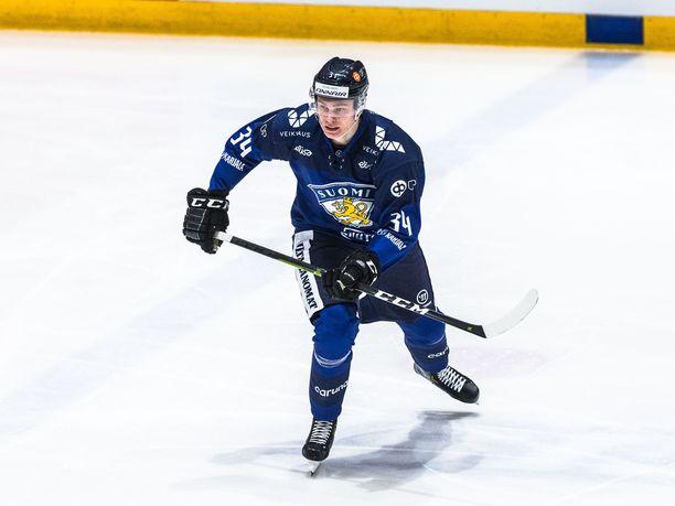 Kaapo Kakko keräsi yhden syöttöpisteen Ruotsia vastaan.