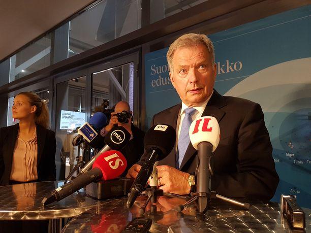Presidentti Sauli Niinistö puhui suurlähettiläspäivillä Helsingissä.