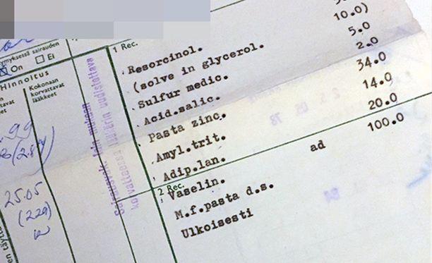 Tarjan vuonna 1978 Paltamossa saamat reseptit.
