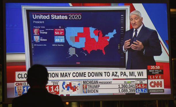 Ympäri maailmaa seurataan tällä hetkellä Yhdysvaltojen presidentinvaalin ääntenlaskennan edistymistä.