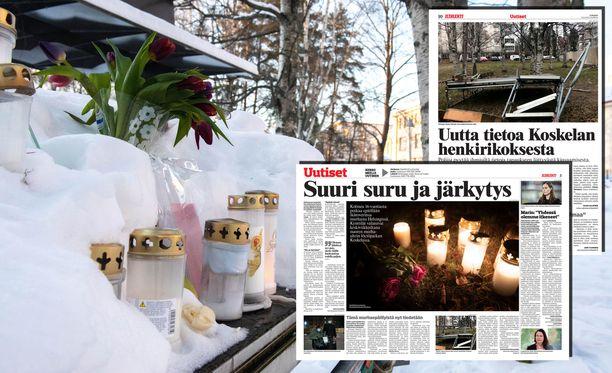 Rikospaikalle oli tuotu uusia kynttilöitä ja kukkia vielä oikeudenkäynnin alla.