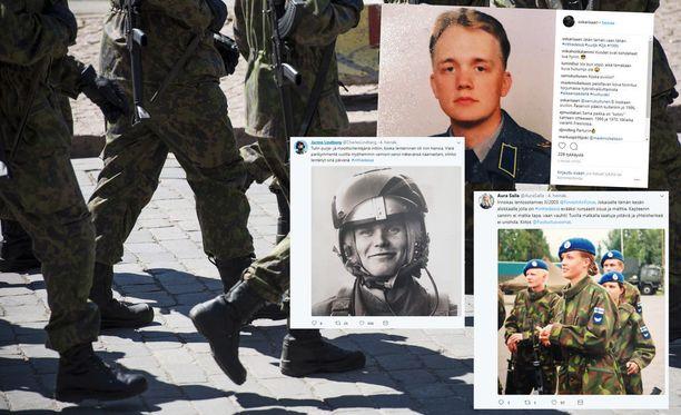 Muun muassa urheilutoimittaja Oskari Saari, kenraali Jarmo Lindberg ja poliitikko Aura Salla jakavat inttimuistojaan sosiaalisessa mediassa.