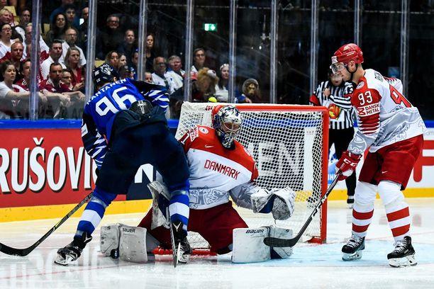 Mikko Rantanen jäi ilman tehopisteitä Tanskaa vastaan.