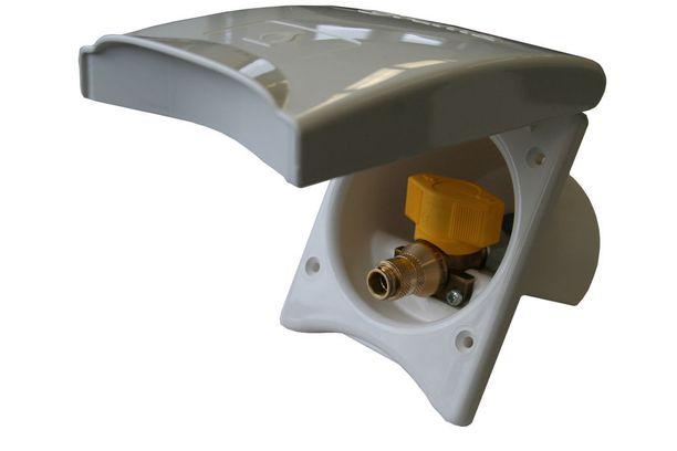 Turvallisuustiedote koskee kaasun ulkopistorasia, jossa on keltainen kahva.
