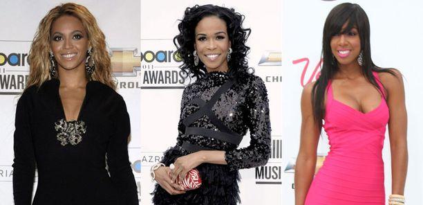 Destiny's Child -tyttöbändin aikoinaan muodostaneet Beyonce, Michelle Williams ja Kelly Rowland säteilivät gaalassa.